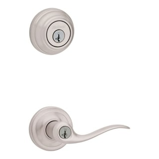 Satin Nickel Accent Privacy Wave Lever Door Handle