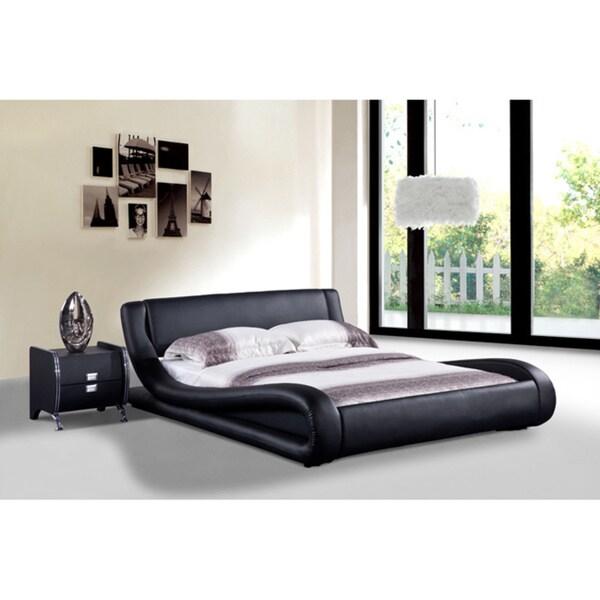 Modern Black Bed : Baxton Studio Carlotta Modern Black Faux Leather Platform Bed with ...