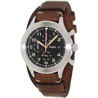 Fossil Men's JR1432 Compass Brown Leather Quartz Watch