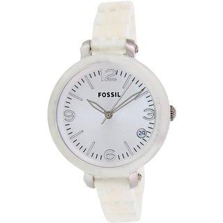 Fossil Women's JR1409 Heather White Plastic Quartz Watch