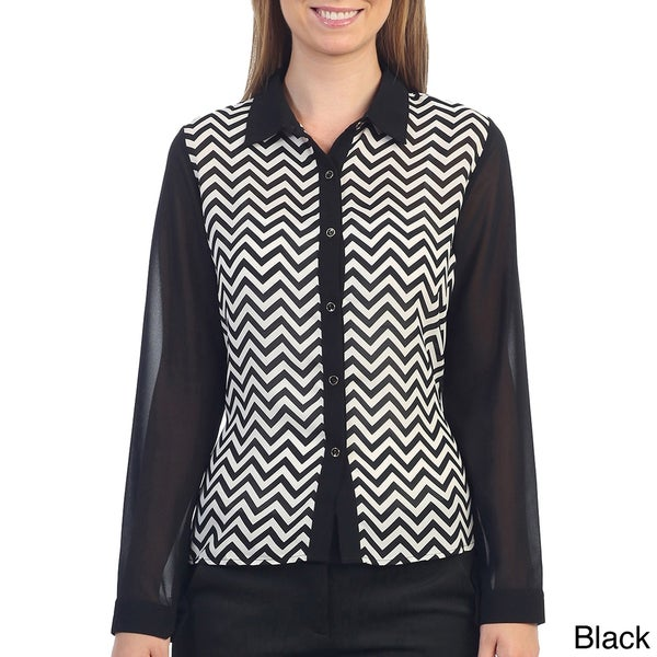 Hadari Womens Chevron Print Long Sleeve Blouse