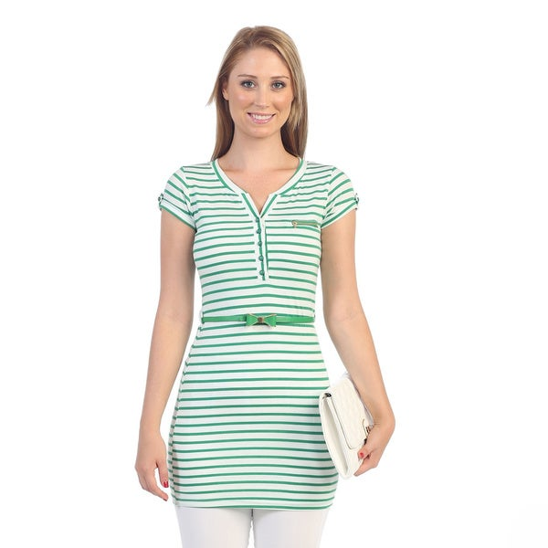 Hadari Women's Green Stripe Cap Sleeve Tunic