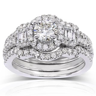 Annello 14k White Gold 1 1/2ct TDW Round/ Baguette Diamond 3-piece Bridal Set (H-I, I1-I2)
