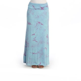 Hadari Women's Blue Marble Fold-over Maxi Skirt