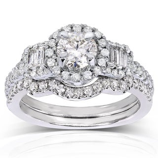 Annello 14k White Gold 1 1/3ct TDW Round/ Baguette Diamond 2-piece Bridal Set (H-I, I1-I2)