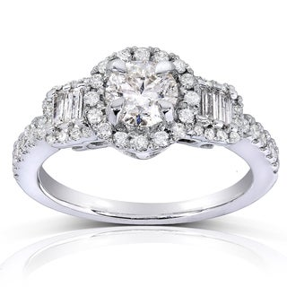 Annello 14k White Gold 1 1/10ct TDW Round/ Baguette Diamond Engagement Ring (H-I, I1-I2)