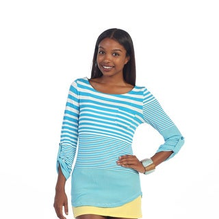Hadari Women's Striped Roll Over Sleeves