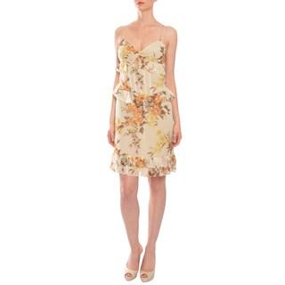 Vera Wang Women's Silk Chiffon Flirty Floral Ruffle Dress