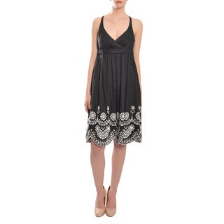 Escada Women's Sweet Black Cotton Eyelet Sun Dress