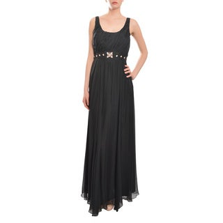 ABS Women's Lovely Black Silk Chiffon Gown Dress