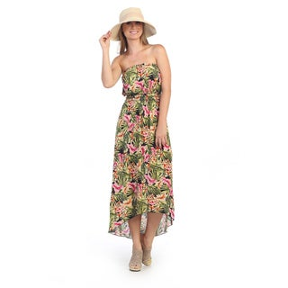 Hadari Women's Strapless Floral Maxi Dress