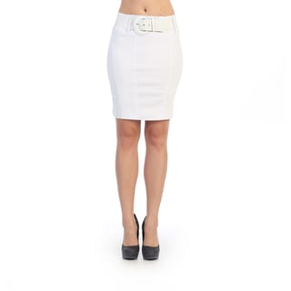 Hadari Women's Buckled White Pencil Skirt