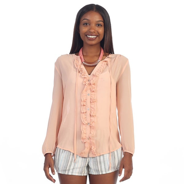 Hadari Women's Pink Long Sleeve Ruffled Blouse