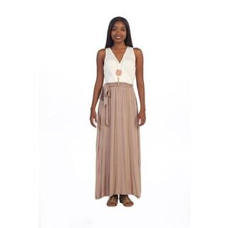 Hadari Women's V-neck Two-toned Maxi Dress