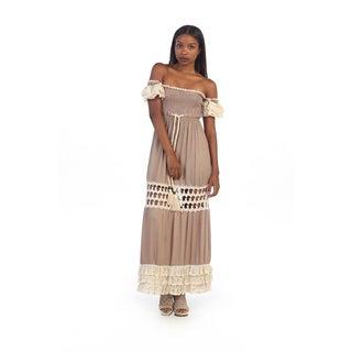 Hadari Women's Crochet Off-the-shoulder Maxi Dress