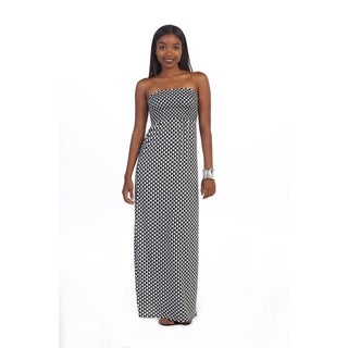 Hadari Women's Strapless Checkered Maxi Dress