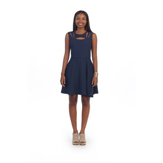 Hadari Women's Navy Laser-cut Sleeveless Dress