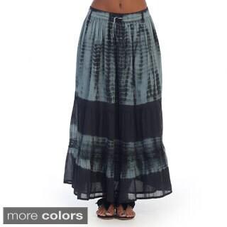 Hadari Womens Tie-dye Print Maxi Skirt (One size)