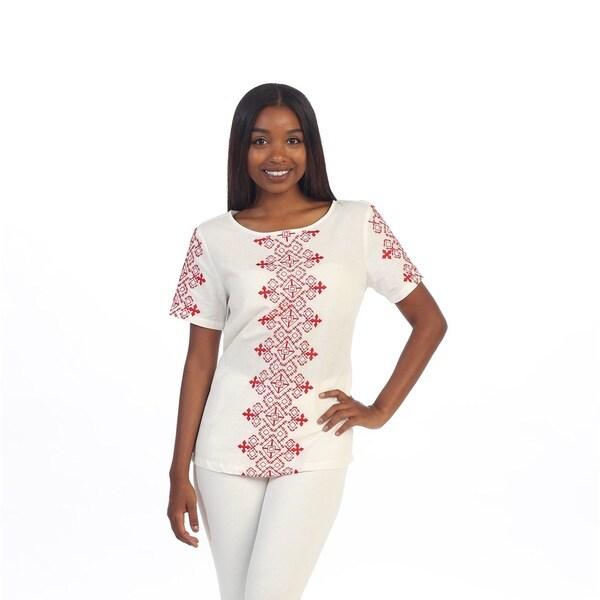 Hadari Women's White and Red Boho Linen Blouse