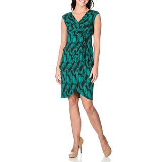 London Times Women's Teal / Brown Faux Wrap Dress