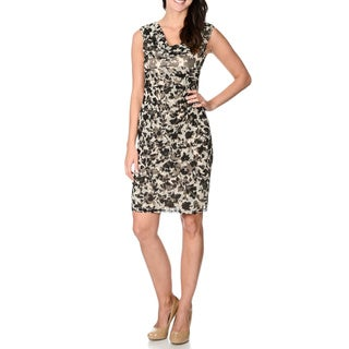 London Times Women's Floral Cowl Neck Dress