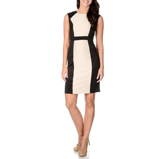 London Times Women's Inset Ribbed Black Sheath Dress