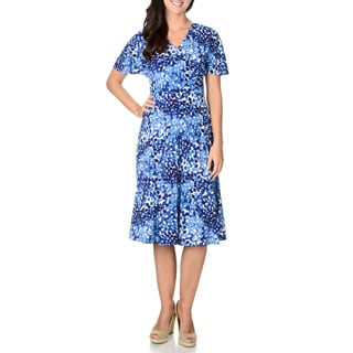Lonton Times Women's Blue Print Faux Wrap Dress