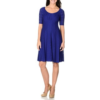 London Times Women's Blue Stretch Eyelet Dress