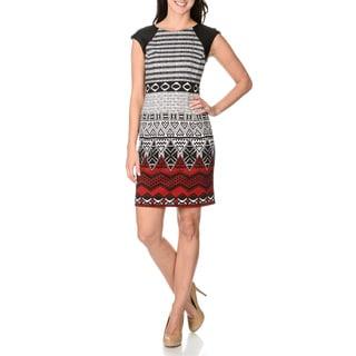 London Times Women's Black and Red Tribal Print Sheath Dress