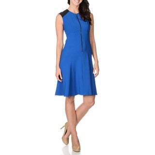 London Times Women's Two-tone Front Zip Dress