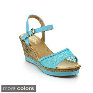 BellaMarie Women's 'NXT-16' Lace Wedge Sandals