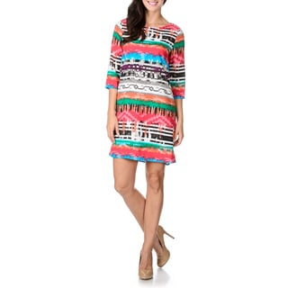Rabbit Rabbit Rabbit Designs Women's 3/4-length Sleeve Abstract Tribal Shift Dress
