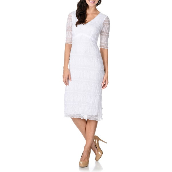Rabbit Rabbit Rabbit Designs Women's Lace Double V-neck Midi Sheath Dress