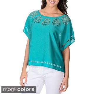 Adiva Women's Kimono Laser Cut Boxy T-shirt Top