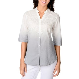 Adiva Women's Ombre Button-down Embroidered Detail Top