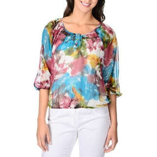 Adiva Women's Abstract Floral Print Peasant Top