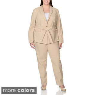 Zac & Rachel Women's Plus Size Stretch Belted Pant Suit