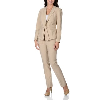 Zac & Rachel Women's Khaki Stretch Belted Pant Suit
