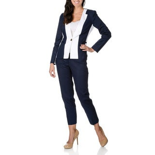 Zac & Rachel Women's Navy and White Stretch Collarless Pant Suit