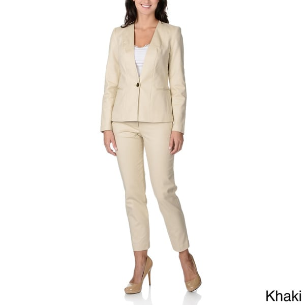 Zac & Rachel Women's Stretch Collarless Pant Suit