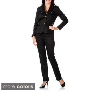 Sharagano Women's Chain Detail Stretch Pant Suit