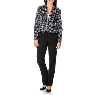 Zac & Rachel Women's Stretch Geometric 2-piece Pant Suit