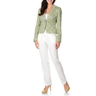 Zac and Rachel Women's Stretch Tile 2-piece Pant Suit