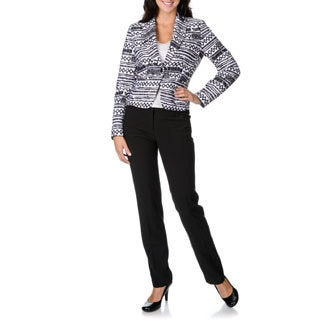 Zac & Rachel Women's Stretch Aztec 2-piece Pant Suit