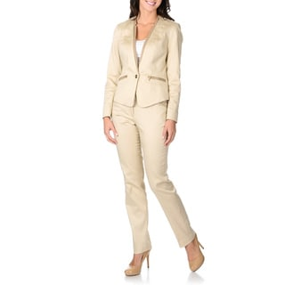 Sharagano Women's Khaki Trimmed 2-piece Pant Suit