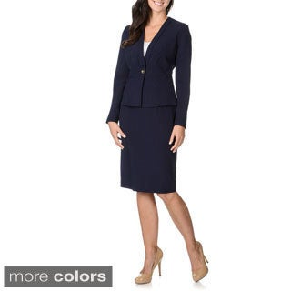 Zac & Rachel Women's Stretch Peplum Shawl-collar Skirt Suit