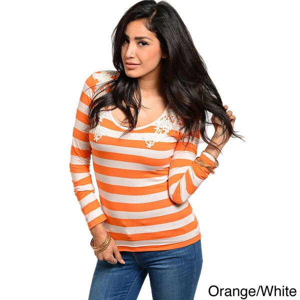 Shop The Trends Juniors Crochet-shoulder Long Sleeve Knit Top