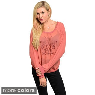 Feellib Juniors Tribal Embroidered Knit Top