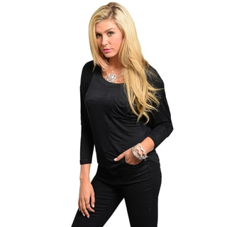 Shop The Trends Juniors Black Draped-back Long Sleeve Top