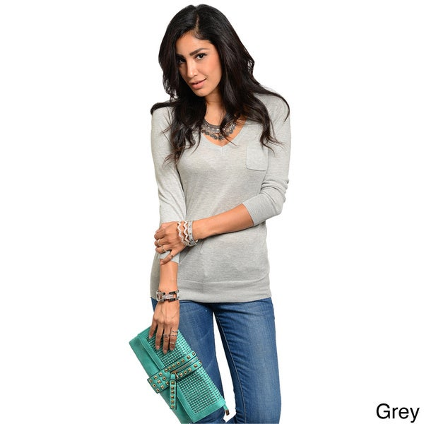 Shop The Trends Juniors Long Sleeve Stretch-knit Top